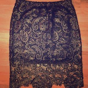 Sans Souci Black Lace Pencil Skirt